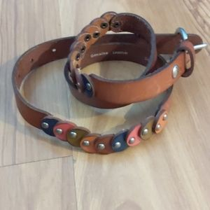Fossil leather belt with multi colored circle stud